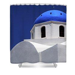 Santorini Greece Architectual Line 2 Shower Curtain by Bob Christopher