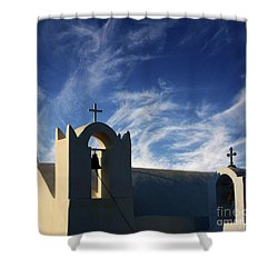 Shower Curtain featuring the photograph Santorini Greece Architectual Line 3 by Bob Christopher