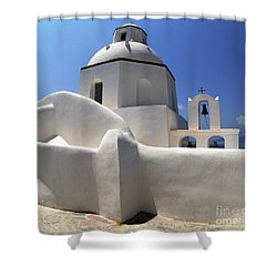Shower Curtain featuring the photograph Santorini Greece Architectual Line 4 by Bob Christopher