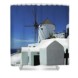 Shower Curtain featuring the photograph Santorini Greece Architectual Line 5 by Bob Christopher