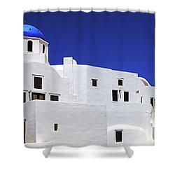 Shower Curtain featuring the photograph Santorini Greece Architectual Line 6 by Bob Christopher