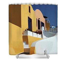 Santorini Greece Architectual Line Shower Curtain by Bob Christopher