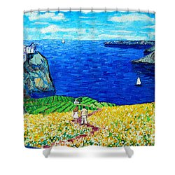 Santorini Honeymoon Shower Curtain by Ana Maria Edulescu