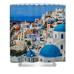 Santorini Shower Curtain by Mary Susan Vaughn
