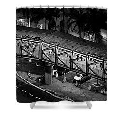 Sao Paulo - Metallic Footbridge At Night Shower Curtain