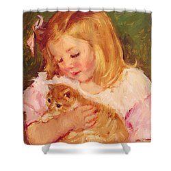 Sara Holding A Cat Shower Curtain