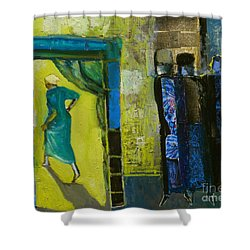 Sarah And The Three Angels Shower Curtain by Richard Mcbee