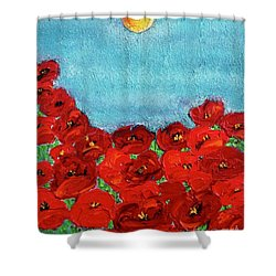 Sarah's Poppies Shower Curtain