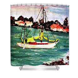 Sarasota Bay Sailboat Shower Curtain by Angela Murray