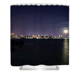 Sarasota Cityscape-night-full Moon 2 Shower Curtain