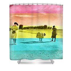 Shower Curtain featuring the painting Sarasota Series Beachcombers by Edward Fielding