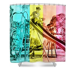 Shower Curtain featuring the painting Sarasota Series Trailer Park Playground by Edward Fielding
