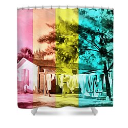 Shower Curtain featuring the painting Sarasota Series Wash Day by Edward Fielding