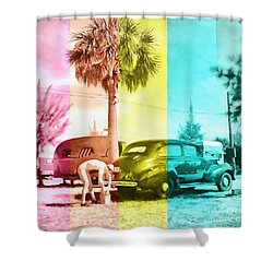 Shower Curtain featuring the painting Sarasota Series Wash The Car by Edward Fielding