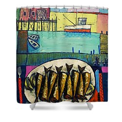 Shower Curtain featuring the painting Sardines by Mikhail Zarovny