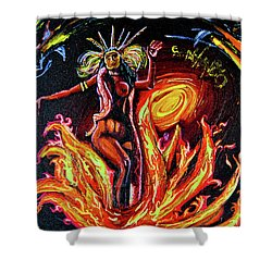 Shower Curtain featuring the painting Satanico Pandemonium by eVol i
