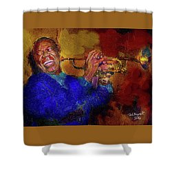 Shower Curtain featuring the painting Satchmo by Ted Azriel