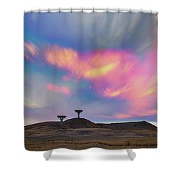 Shower Curtain featuring the photograph Satellite Dishes Quiet Communications To The Skies by James BO Insogna