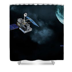 Satellites In Orbit Around The Moon Shower Curtain by Christian Lagereek