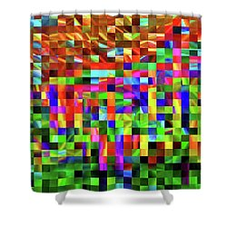 Satin Tiles Shower Curtain by Ludwig Keck