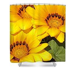 Satin Yellow Florals Shower Curtain by E Faithe Lester