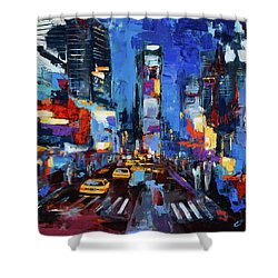 Saturday Night In Times Square Shower Curtain by Elise Palmigiani