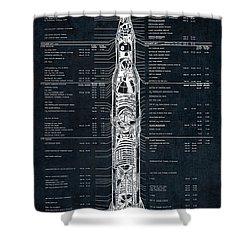 Saturn V Apollo Moon Mission Rocket Blueprint  1967 Shower Curtain