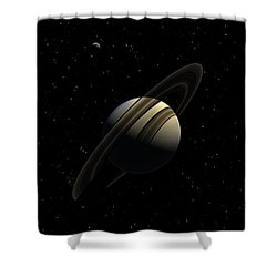 Saturn With Titan Shower Curtain