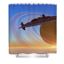 Saturn's Moon Shower Curtain by Corey Ford