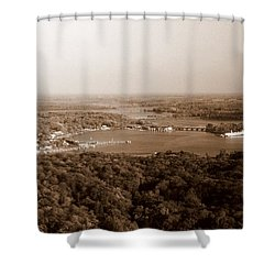 Saugatuck Michigan Harbor Aerial Photograph Shower Curtain by Michelle Calkins