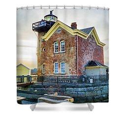 Shower Curtain featuring the photograph Saugerties Lighthouse by Nancy De Flon