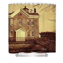 Shower Curtain featuring the photograph Saugerties Lighthouse Sepia by Nancy De Flon