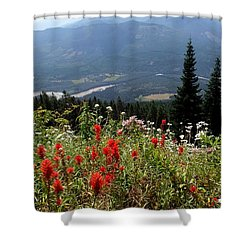 Sauk Mountain Indian Paintbrush Shower Curtain by Karen Molenaar Terrell