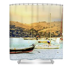 Shower Curtain featuring the photograph Sausalito Sailboats by Laura DAddona