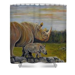 Savanna Overlook, Rhinoceros  Shower Curtain