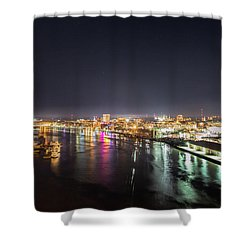 Savannah Georgia Skyline Shower Curtain by Robert Loe
