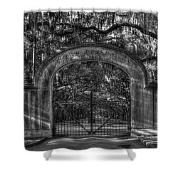 Shower Curtain featuring the photograph Savannah's Wormsloe Plantation Gate Bw Live Oak Alley Art by Reid Callaway