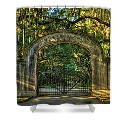 Shower Curtain featuring the photograph Savannah's Wormsloe Plantation Gate Live Oak Alley Art by Reid Callaway