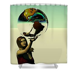 Save The Earth Shower Curtain by Corey Ford