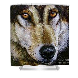Save The Wolf Shower Curtain by Jurek Zamoyski