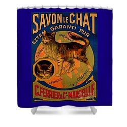 Savon Le Chat Antique French Poster Shower Curtain