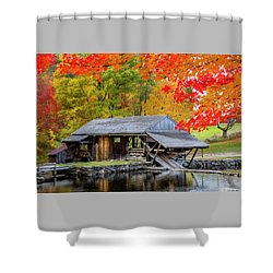 Sawmill Reflection, Autumn In New Hampshire Shower Curtain