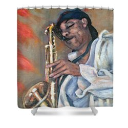 Sax And Linen Shower Curtain