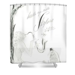 Shower Curtain featuring the digital art Sax Girl by ReInVintaged