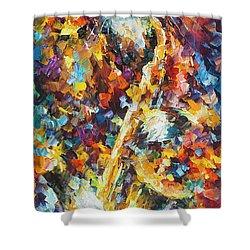 Saxophone Cat   Shower Curtain by Leonid Afremov