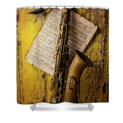 Saxophone Hanging On Old Wall Shower Curtain
