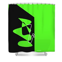 Saxophone In Green Shower Curtain