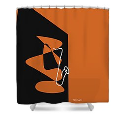 Saxophone In Orange Shower Curtain by David Bridburg