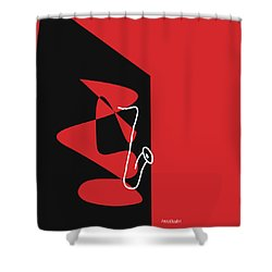 Saxophone In Red Shower Curtain