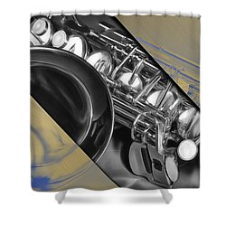 Saxophone Musical Collection Shower Curtain by Marvin Blaine